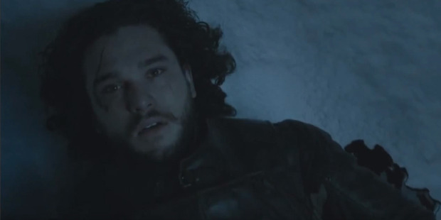 Jon Snow died in the snow at the end of season five. Photo / HBO