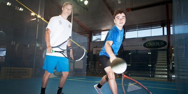 Jamie Oakley (right) has had the best week of his squash career so far. Photo / Andrew Warner
