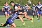 Pikiao's Zane Haimona is tackled during his team's defeat of neighbours Ngongotaha on Saturday. Photo / Ben Fraser