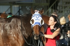 Rasa Lila and co-trainer Julia Ritchie after winning the $100,000 Travis Stakes at Te Rapa. Photo / Trish Dunell