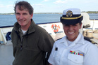 Michael Hurley, a US author who lost his storm-battered sailboat on a failed Atlantic crossing (left), with Maine Maritime Academy junior Gabrielle Wells. AP photo / David Sharp, June 2015