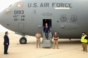 US Vice-President Joe Biden steps off a C-17 military transport plane upon his arrival in Baghdad, Iraq, last week. Photo / AP