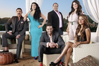 Publicity image, featuring (from left to right) Reza Farahan, Asa Soltan Rahmati, Mike Shouhed, Sammy Younai, Mercedes Javid, and Golnesa Gharachedadhi in Bravo's new TV reality series