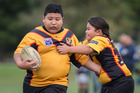 Rugby league player Eljae Pukeiti-Mara (10, left) from the Manurewa Marlins U10 Hurricanes. Photo / Greg Bowker, Herald on Sunday