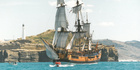 Endeavour replica off Castlepoint in 1995. Photo / File