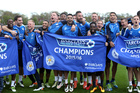 Leicester City players celebrate winning the Premier League Title. Photo / Getty
