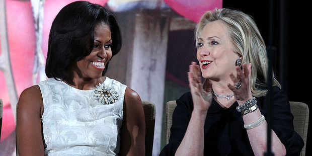 First lady Michelle Obama with U.S. Secretary of State Hillary Clinton. Photo / Getty Images