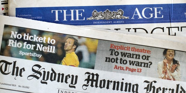 Fairfax Australia papers. Photo / Getty