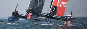 Emirates Team NZ in action during The Americas Cup World Series in Muscat, Oman. Photo / Getty Images