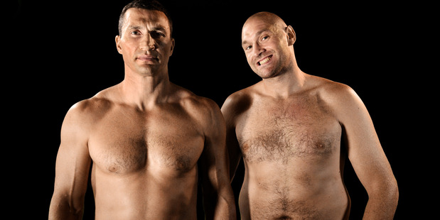 Tyson Fury (right) poses with Wladimir Klitschko ahead of their upcoming clash. Photo / Getty Images