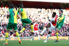Danny Welbeck of Arsenal scores against Norwich. Photo / Getty