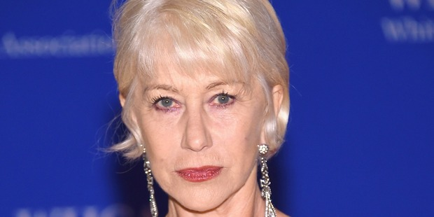 Actress Helen Mirren shows her Prince symbol tribute at the 102nd White House Correspondents' Association Dinner in Washington, DC. Photo / Getty Images