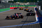 Max Verstappen leads cars during the Formula One Grand Prix of Russia. Photo / Getty Images