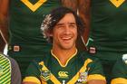 Australia playmaker Jonathan Thurston at the Kangaroos team photo on Monday. Photo / Getty Images