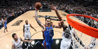 Steven Adams of the Oklahoma City Thunder goes for a dunk against the San Antonio Spurs. Photo / Getty Images