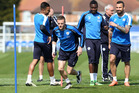 Jamie Vardy takes part in a Leicester City training drill. Photo / Getty Images