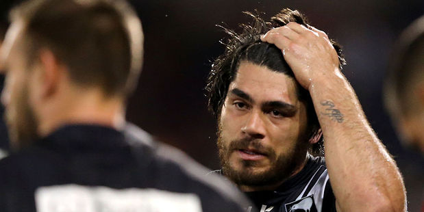 Tohu Harris of the Kiwis looks dejected during his side's loss to Australia. Photo / Getty