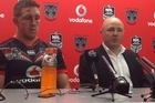 Warriors coach Andrew McFadden and captain Ryan Hoffman address the media after today's win over the Dragons at Mt Smart Stadium.