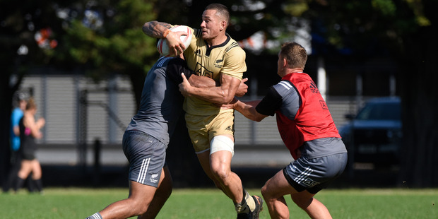 Sonny Bill Williams in action at All Blacks Sevens training at Blake Park yesterday. Photo / George Novak