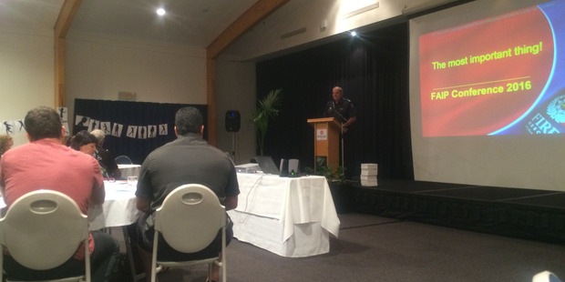 New Zealand Fire chief executive and national commander Paul Baxter during his presentation. Photo/Kyra Dawson