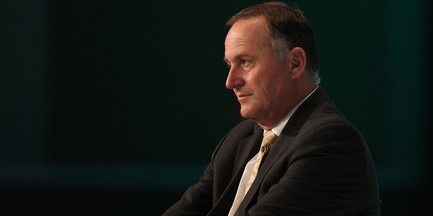 Prime Minsiter John Key at this morning's cyber security conference in Auckland. Photo / Greg Bowker