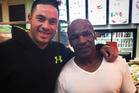 Joseph Parker and Mike Tyson in Las Vegas.