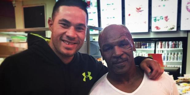Joseph Parker and Mike Tyson in Las Vegas.