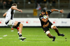 Taleni Seu on the charge for the Chiefs against the Sharks last week in New Plymouth. Photo / Getty Images