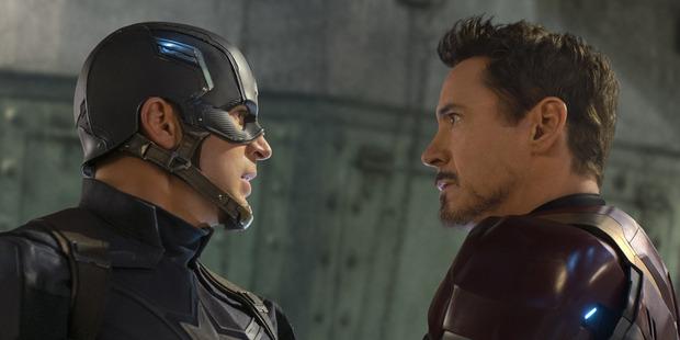 Captain America: Civil War: Captain America/Steve Rogers (Chris Evans) and Iron Man/Tony Stark (Robert Downey Jr.).