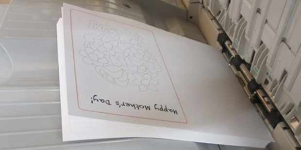 A Mother's Day colouring-in card designed and printed in Rimutaka's Print Shop has been produced. Photo / Corrections