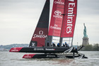 Emirates Team New Zealand have been studying the tricky conditions ahead of the America's Cup World Series races in New York.