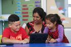 Maths teacher Sheela Stanley with students Cole-Jason, 9, and Alyssa, 6, at Rosebank School in Auckland. Photo / Doug Sherring