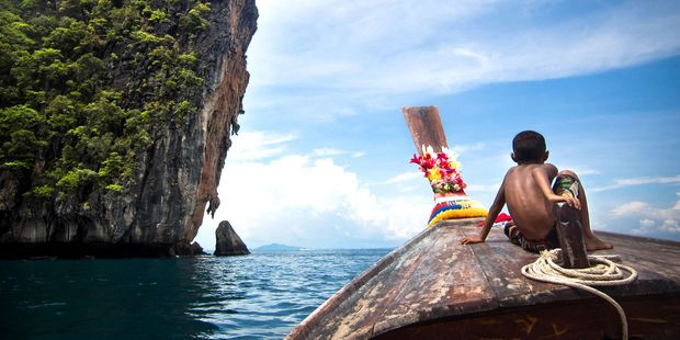 Longtail boat is a common way of getting around at Ko Phi Phi. Photo / 123Rf