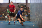 300416aw03bop PFA Tournament pro squash at Tauranga Boys High School Gym. 30 April 2016 The Bay of Plenty Times Photograph by Andrew Warner.