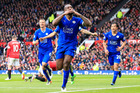 Leicester's Wes Morgan, centre, celebrates after scoring. Photo / AP