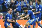 Leicester City players (from left) Danny Drinkwater, captain Wes Morgan, Shinji Okazaki and Riyad Mahrez celebrate a goal against Southampton earlier this season.