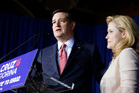 Ted Cruz speaks with his wife, Heidi, by his side during a primary night campaign event. Photo / AP