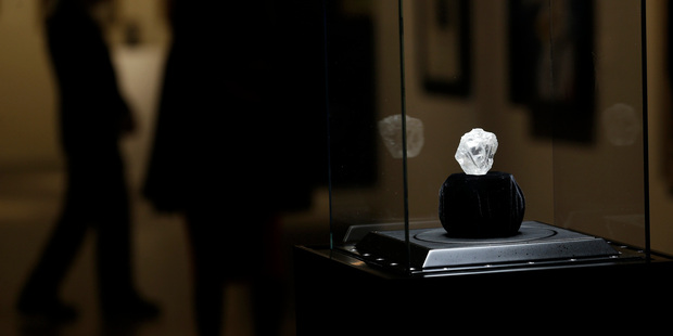 A large diamond is displayed at Sotheby's. Photo / AP
