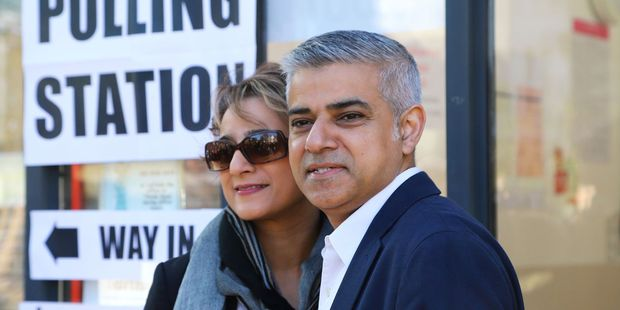 Loading Earlier today Sadiq Khan arrived with his wife, Saadiya, to cast their votes at a polling station in Streatham, south west London. Photo / AP