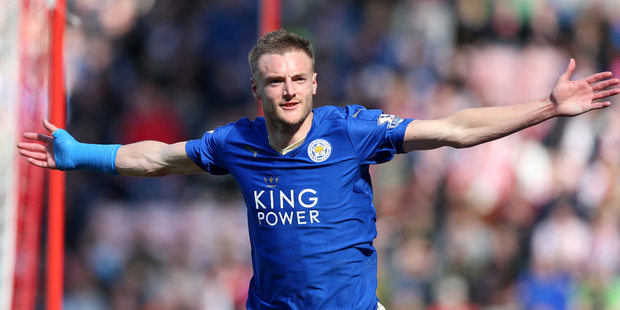 Australian fans will have to sign up to an Optus plan to see newly-crowned EPL champions Leicester City and star striker Jamie Vardy next season. Photo / AP