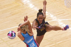 CLOSE TUSSLE:  Magic's Malia Paseka (right) in action against Southern Steel in Rotorua in April. PHOTO/FILE