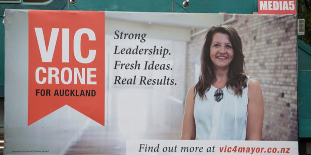 Vic Crone's billboard at 136 Hobson St is in breach of Auckland Council's election sign bylaw. Photo / Greg Bowker
