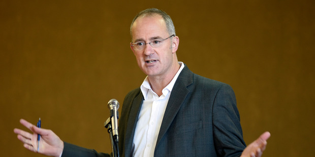 Phil Twyford at Labour's public meeting about the housing crisis. Photo / George Novak