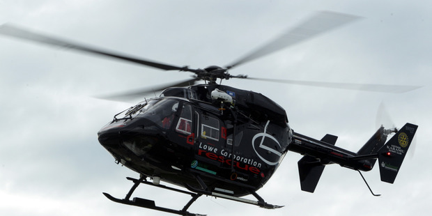 Lowe Corporation rescue helicopter called in to Taradale farm accident today. PHOTO/Paul Taylor