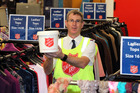 Major Bruce Aldersley with a collection bucket at the Hastings Salvation Army Family Store, where donations can also be made. Photo / Duncan Brown