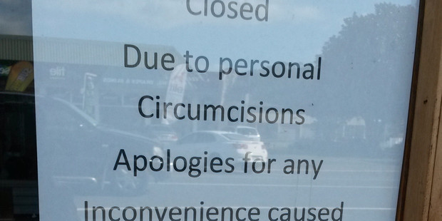 Sign in local shop window suggests spellcheck issues, says Phillip. Photo / Supplied