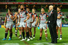 A despondent-looking Warriors side after their 42-0 drubbing at the hands of the Melbourne Storm on Anzac Day.