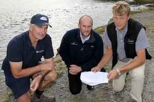From left to right: Kevin Bayley, grower, board member, Twyford Co-operative Company Ltd; Iain Maxwell, group manager resource management, Hawke's Bay Regional Council; Jerf van Beek, chairman, Twyford Co-operative Company Ltd - pictured by the Tutaekuri River, near Taradale, Napier. Photo / Duncan Brown