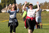 PUFFED BUT CHUFFED: Lynne Phillips and Liz Stockley cheer themselves past the finish line at Clive. PHOTO/DUNCAN BROWN