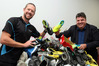 TOP STUFF: Sport Hawke's Bay's Ryan Hambleton (left) and Hawke's Bay Today editor Andrew Austin with the great mountain of boots the community donated. PHOTO/Paul Taylor